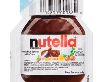 25Pack .52 oz Nutella Hazelnut Spread, Party Favor, Nutella, Party, Gifts, Wedding, Baby Shower, Bachelorette Party, Engagement Party, Favor