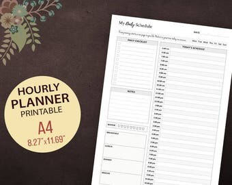 Hourly Planner Inserts, Hourly Planner Printable, Daily Schedule, Day Organizer, Hourly Day Plan, Instant Download, A4