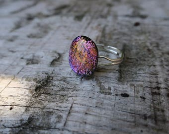 Pink/Orange Dichroic glass silver plated ring