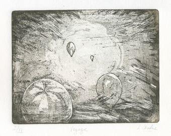 """Original etching """"Voyage"""""""