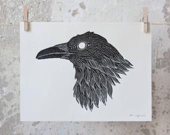 Raven, Crow Linocut Print