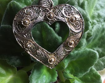 Vintage Lacework Heart Pendant, Sterling Silver