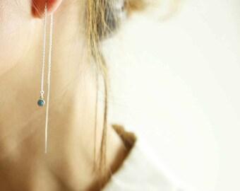 Silver Bar Birthstone Earrings/Birthday Earrings/Simple Thread Earrings/Gemstone Earrings