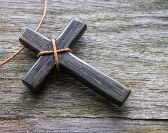 Black wood cross necklace, men cross necklace, religious pendant, crucifix necklace, catholic necklace, christian necklace, gift for him