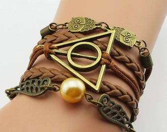 Brown leather or Blue owl wing gold ball and wizard inspired themed bracelet