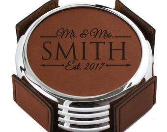 Personalized Coasters, Personalized Wedding Gift, Custom Coasters, Leather Coasters, Wedding Gifts for Couple, Drink Coasters, Set of 4