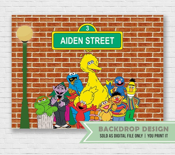 Sesame Street Background Party Backdrop DIGITAL FILE
