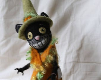 Custom Needle Felted Made to Order ''Witchy Kitty''