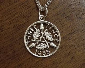 1935 Silver Threepenny - Cut Out Coin Necklace