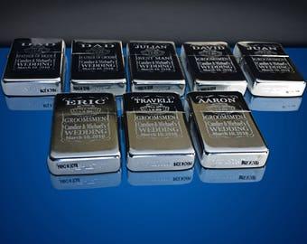 8 Engraved lighters - Custom engraved refillable lighter in box - Personalized Groomsmen gift - Laser engraved custom wedding gift set