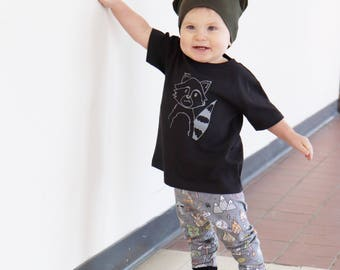 Black Raccoon Graphic T Shirt -infant or toddler -