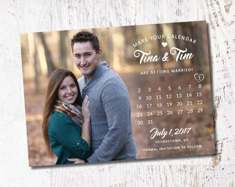 Save the Date Photo Invitation with Calendar Bridal