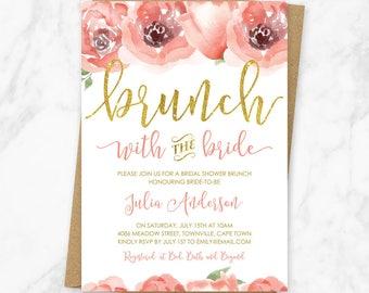 Brunch with the Bride Invitation, Bridal Shower Brunch Invitation, Floral Bridal Brunch Invitation, Floral Brunch with the Bride, Printable