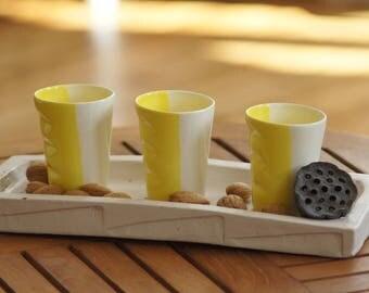Two-tone earthenware - yellow & white espresso Cup