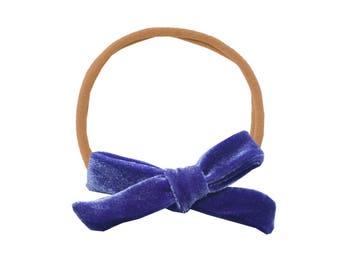 Schoolgirl Velvet Bow or Pigtail Set /// Hyacinth