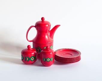Retro 70s Emsa Plastic Tea Set, Red Plastic Toy Tea Set, Vintage Tea Set, Retro Tea Service, 70s Tea Set, Retro Kitchen Deco, Kitsch Kitchen