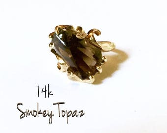 14k Smokey Topaz Ring SALE