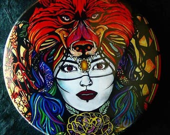 Wolfmother Pocket Mirror 78mm Glossy Detailed Gold Effect