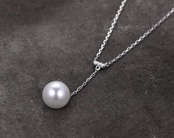 Sterling silver necklace/pearl necklace/Cubic Zirconia necklace/birthday gift/lovely design/special style/chain set/gift for her