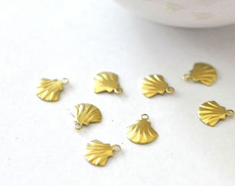 10 charms small raw brass shell