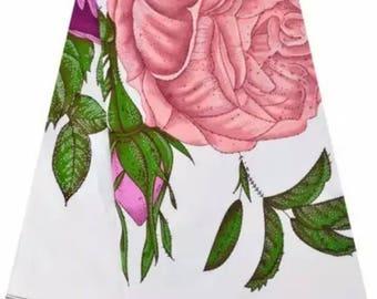 African Wax Print/ Ankara Fabric/ High Quality Dutch Super Wax Hollandais Fabric/ Big Pink Rose Print