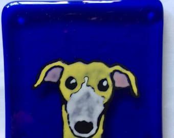 Dan the Greyhound Fused glass coaster