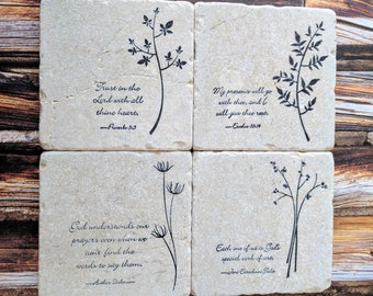 Words of Wisdom Stone Coaster Set, set of 4, Natural Tumbled Stone, Flowers, Plants, Herbs, Scripture, Christian, Inspirational Quotes