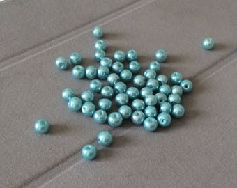 Green round bead 6mm glass
