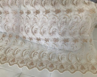 End of sheer embroidered with golden thread 260 * 95 cm