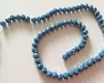 A faceted 8 mm blue jade 8 mm Crystal bead