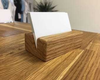 SALE! Oak Wood Business Card Holder - Wood Business Card Holder - Wood Business Card Display - Office Supplies - Walnut - Beech