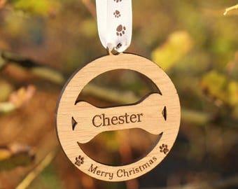 Personalised Dog Decoration, Dog Christmas Decoration, Personalised dog bone bauble, Christmas pet decoration, Christmas tree dog decoration