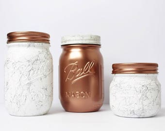 Set of 3 Copper and marble effect mason ball and kilner jars