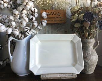 Antique White Ironstone Platter by John Edwards ~ England ~ Large Rectangular Shape Platter ~ Antique English Ironstone ~ c1880