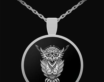 OWL MANDALA Silver Plated Pendant Necklace - Silver Owl Necklace, Silver Owl Pendant, Owl Gifts, Owl Jewelry, Owl Spirit Animal Necklace