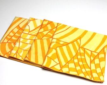 Four Vintage Vera Abstract Yellow/Orange/White Cotton Napkins