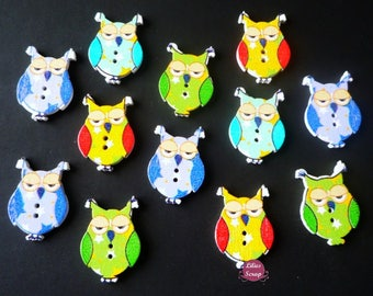 5 owls owls painted 3 cm - 2 holes wood buttons