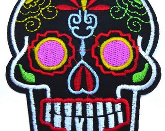Patch embroidered patch fusible skull Mexican calavera skull 9 cm