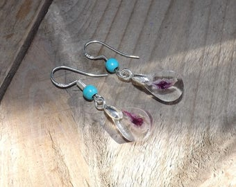 Purple petal drop earrings