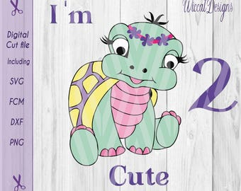 Turtle svg, girl svg, baby svg, two svg, second birthday svg, too cute svg, scanncut, dxf files, cricut, designer space, cuttable files