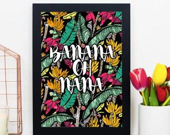 Banana Oh Nana - Banana Leaf, Banana Leaf Print, Banana Leaf Poster, Banana Leaves, Scandinavian Print, Printable Leaf, Tropical Poster