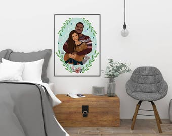 Custom Portrait, Couple Illustration, Personalized Gift, Gift for Boyfriend, Anniversary Gift, Birthday Gift, Couple Portrait, Couple Art