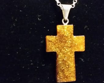 Genuine Baltic Amber Cross with Chain, Butterscotch Color