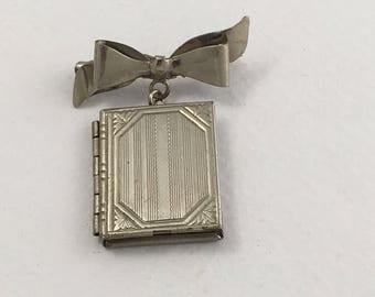 Locket Sweetheart Book Brooch, Victorian style, Sterling, Vintage, NOS