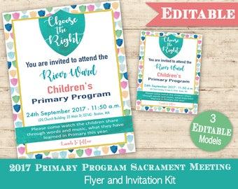 Primary Sacrament Program Invitation Sign/Flyer LDS Primary 2017 Editable PRINTABLE Choose the Right Invite Presentation Sacrament Meeting