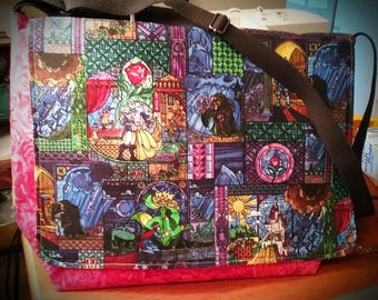 Beauty and the Beast Stained Glass Diaper Bag Large Messenger