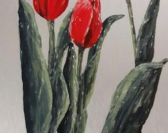 "Tulipes rouge 12"" x 6"" peinture  sur aluminium au fini époxy / Red tulips 12"" x 6"" acrylic painting on aluminum with glossy finish"
