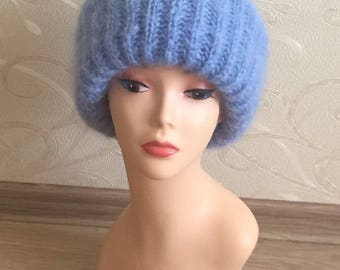 Blue mohair fold over women's hat-ready to ship
