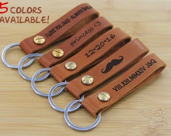 Custom Leather Keychain. Personalized Key fob. Monogrammed Full Grain Leather key chain. Handmade in USA.