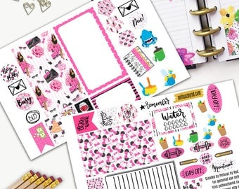 Fashion Girl Theme Planner Weekly Sticker SMALL Kit, BIG Happy Planner Sticker, Weekly Set, Stickers, Printed, Cut, Pink, Minnie, Mouse